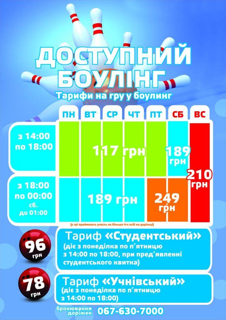 Тарифы на игру в боулинг 2018.09.19
